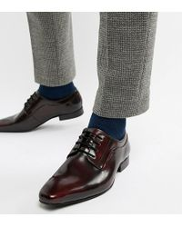 Dune - Wide Fit Lace Up Derby Shoes In Burgundy High Shine - Lyst