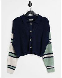 Stradivarius Button Front Cardigan With Collar - Blue