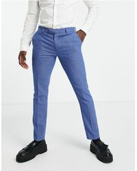 Original Penguin Pantaloni da abito slim azzurri a quadretti micro - Blu