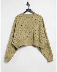 Nike Cropped Sweatshirt Bedekt Met Logo-print - Bruin