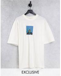 Collusion Camiseta color crudo extragrande con estampado fotográfico - Blanco