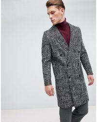 New Look - Wool Overcoat In Fleck Black - Lyst