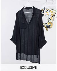 South Beach Exclusive Oversized Beach Shirt - Black