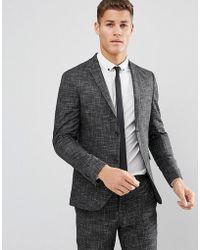Jack & Jones Premium Slim Suit Jacket In Crosshatch - Gray