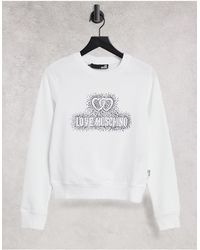 Love Moschino Белый Джемпер С Принтом Логотипа Felpa