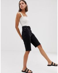 Weekday Cut Off Knee Length Denim Shorts In Washed Black