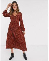 New Look Красное Платье Миди С Цветочным Принтом И Затягивающимся Шнурком -красный