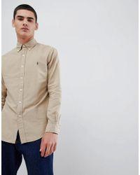 Polo Ralph Lauren - Slim Fit Garment Dyed Shirt Player Logo Button Down In Beige - Lyst