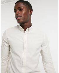 Burton Зауженная Оксфордская Рубашка Светло-бежевого Цвета С Длинными Рукавами Из Органического Хлопка -neutral - Белый