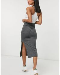 TOPSHOP Jersey Ribbed Midi Skirt - Grey