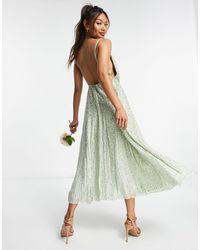 ASOS Шалфейно-зеленое Платье Миди На Бретелях С Отделкой Пайетками -зеленый Цвет