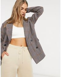Native Youth Double Breasted Blazer - Brown