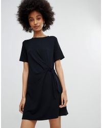 New Look - Black Ruched Side Jersey Tunic Dress - Lyst
