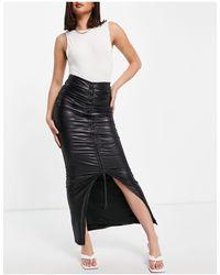 Club L London Ruched Front High Split Maxi Skirt - Black