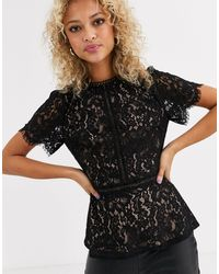 Oasis Lace Deco Top With Peplum Hem - Black