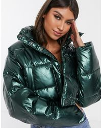 ASOS Glam Metallic Crop Puffer Jacket - Gray