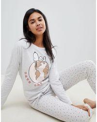 Women'secret Snoopy Save The World Long Pyjama Set - Grey