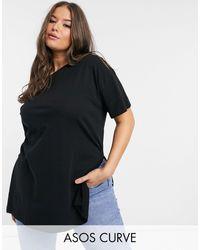 ASOS Asos Design Curve Textured Longline T-shirt With Side Splits - Multicolour