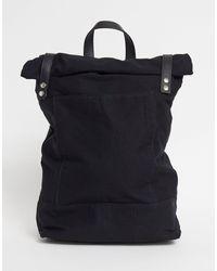 ASOS Черный Парусиновый Рюкзак С Подворачивающимся Верхом И Кожаной Отделкой