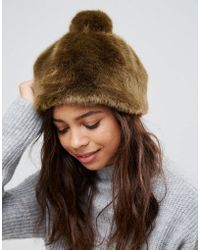 Pieces | Faux Fur Bobble Hat | Lyst
