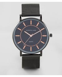 Christin Lars Black Bracelet Watch With Round Black Dial And Rose Gold