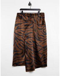 TOPSHOP Satin Midi Skirt - Brown