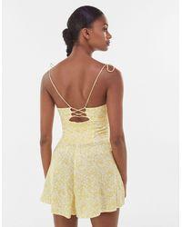 Bershka Shirred Floral Tie Strap Playsuit - Yellow