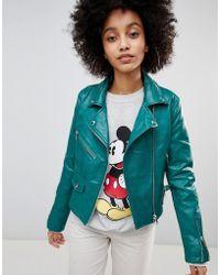 Bershka - Leather Look Biker Jacket - Lyst