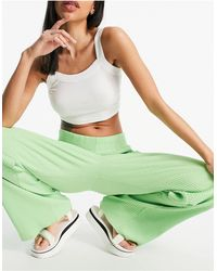 Weekday Katherine Organic Cotton Ribbed Trousers - Green