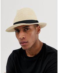 ASOS Straw Fedora Hat - Natural