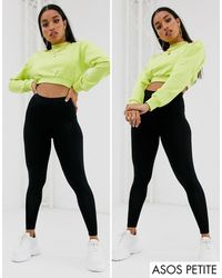 ASOS Asos Design Petite 2 Pack High Waisted leggings - Black