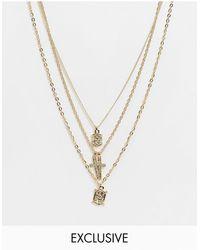 Reclaimed (vintage) Золотистое Ожерелье В Несколько Рядов С Крестиками Inspired-золотистый - Металлик