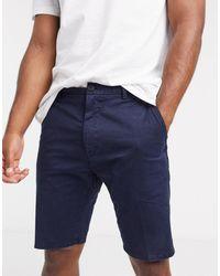 HUGO Glens203d Slim Fit Shorts With Back Logo Tab - Blue
