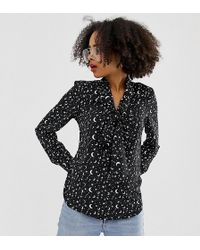 Glamorous Blouse With Pussybow In Celestial Print - Black