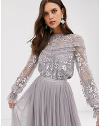 Needle & Thread Embroidered Blouse With Button Detail And Sheer Sleeves - Gray