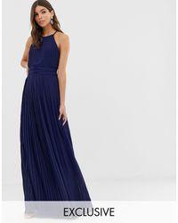 TFNC London Bridesmaid Exclusive High Neck Pleated Maxi Dress - Blue