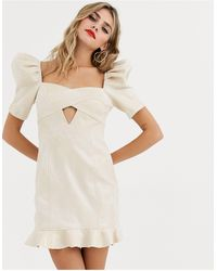 Skylar Rose Mini Dress With Puff Sleeves And Cross Front Detail-gold - Multicolour