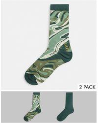 Levi's Набор Из 2 Пар Мужских Носков С Камуфляжным Принтом Levis-зеленый