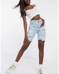 ASOS Hourglass Denim Longline Shorts With Rips - Blue