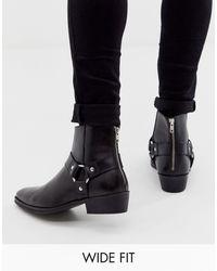ASOS Черные Кожаные Ботинки В Стиле Вестерн Для Широкой Стопы - Черный