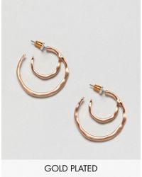 Pilgrim - Rose Gold Plated Mini Double Hoop Earrings - Lyst
