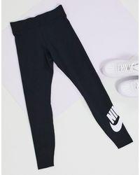 Nike – e Leggings mit hohem Bund und -Swoosh-Logo an der Wade - Schwarz