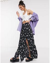 Miss Selfridge Floral Split Maxi Skirt - Black