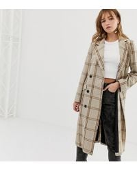 Monki Check Tailored Lightweight Coat In Beige - Brown