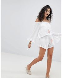 South Beach Two-piece Crepe Frill Beach Shorts With Tassel Detail - White