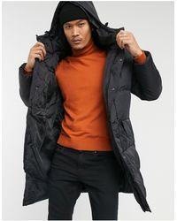 Brave Soul Padded Hooded Longline Jacket - Black