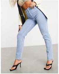 ASOS - Hourglass Farleigh - Mom jeans vita alta slim lavaggio chiaro - Lyst