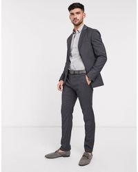 Calvin Klein Pantal�n de traje ajustados de lana texturizada - Gris