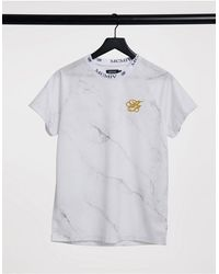 Burton – Iconic Airtech – T-Shirt mit Marmormuster - Weiß
