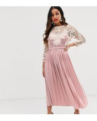 Little Mistress Floral Lace Applique 3/4 Sleeve Midi Skater Dress With Pleated Skirt - Pink